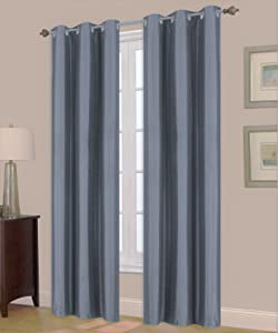 GorgeousHomeLinen (A72) 1 Panel Window Curtain Bronze Grommet Top Lined Foam Backing Insulated Thermal Drape Blackout, Slate Blue (35