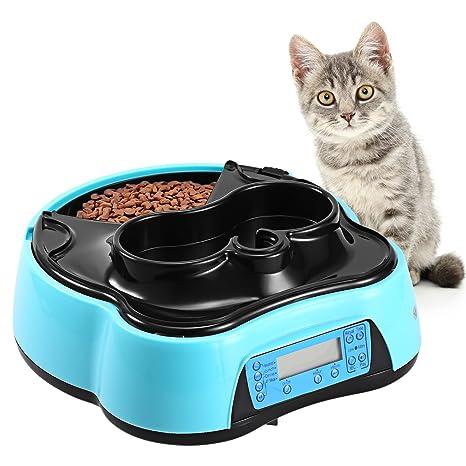 Homdox 2 en 1 Comedero automático y bebedero electrónico alimentador con grabadora de voz y temporizador