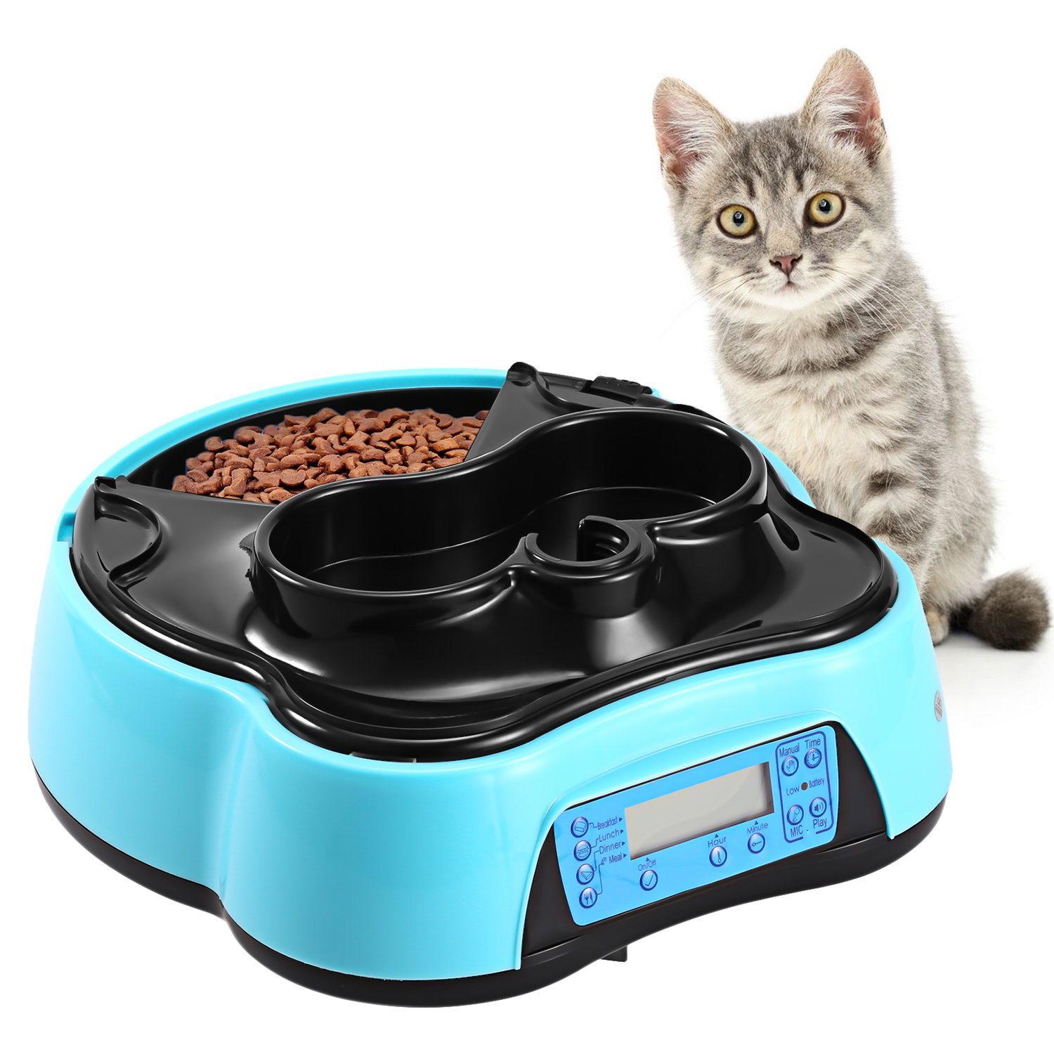 Sailnovo Automatic Pet Feeder 4 Meals Programmable Cat feeder Water Trays for Dog Puppy (4 Meals Pet Feeder)