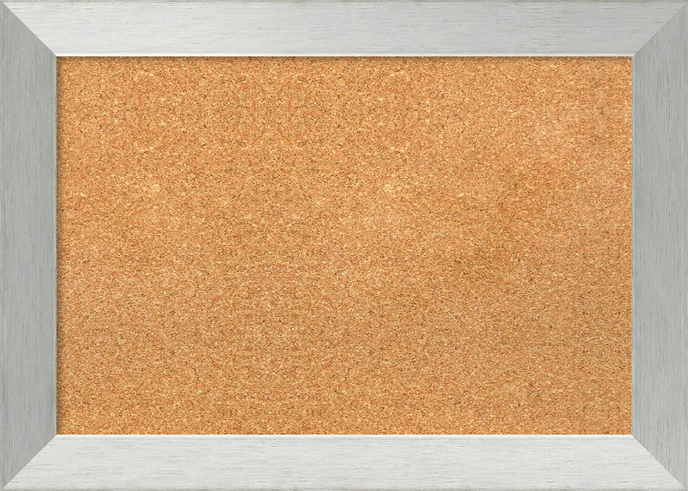 Amanti Art Outer Size 28 x 20 Framed Cork Board Medium, Brushed Sterling Silver
