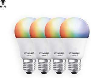 SYLVANIA SMART+ WiFi Full Color Dimmable A19 LED Light Bulb, 60W Equivalent, Works with Amazon Alexa and Hey Google, 4 Pack
