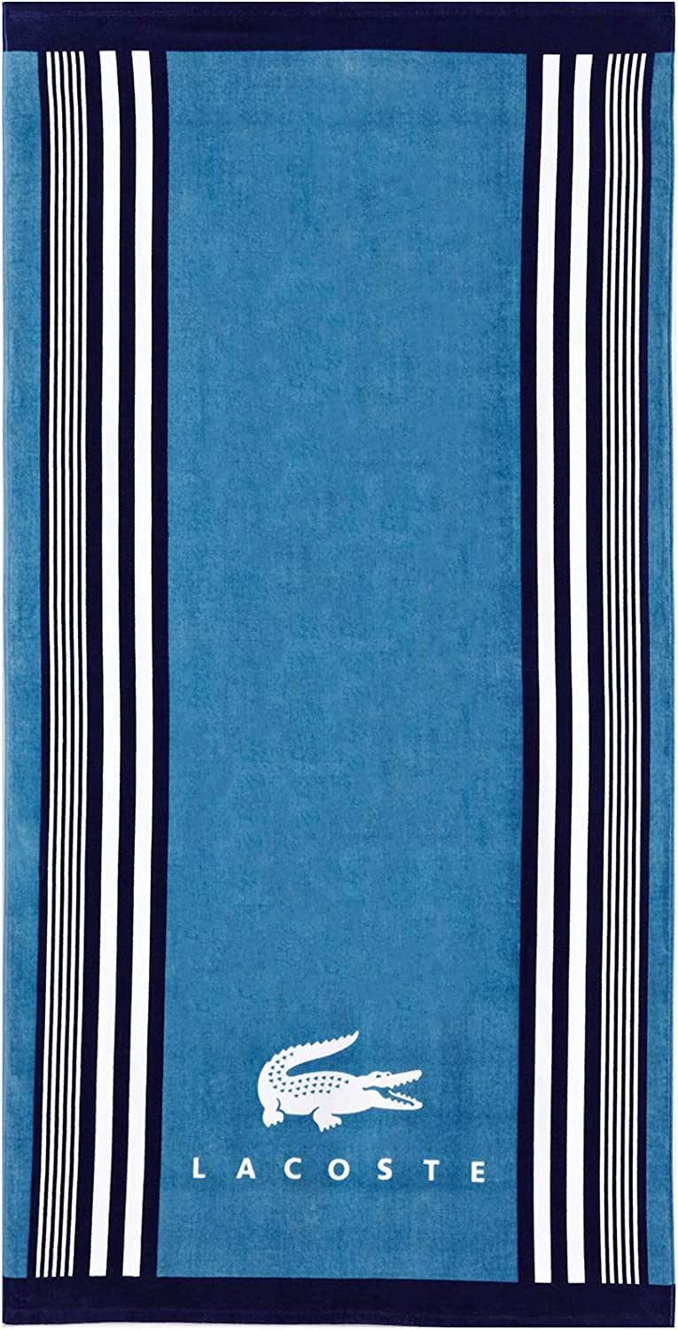 "Lacoste Oki 100% Cotton Beach Towel, 36"" W x 72"" L, Teal/Blue Iconic"
