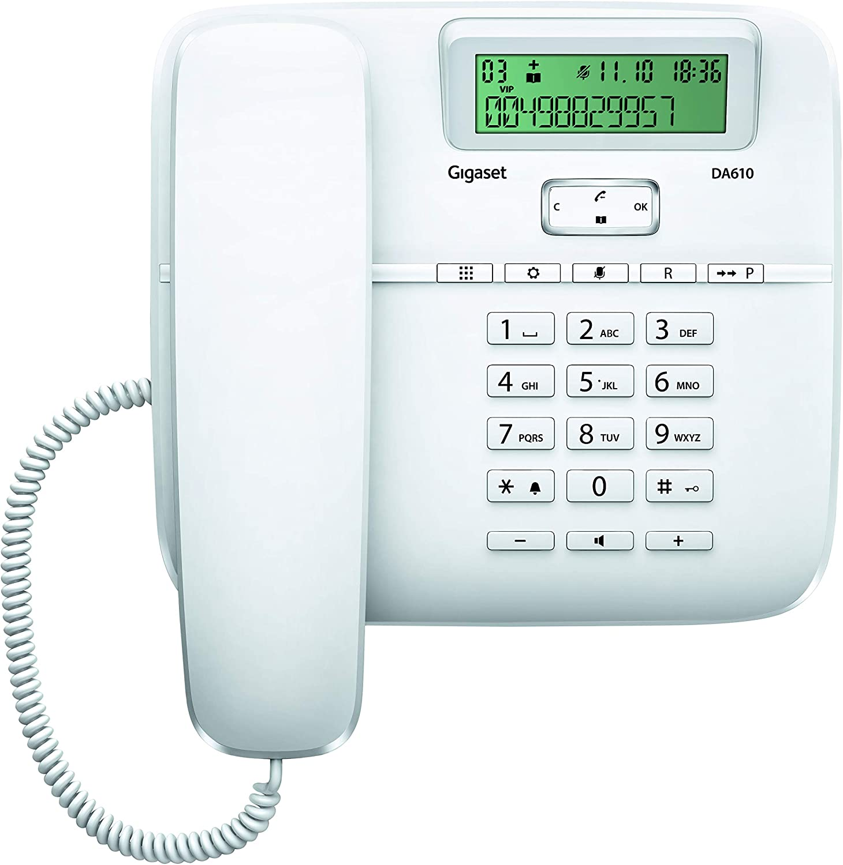 Gigaset DA610 - Teléfono Fijo de Sobremesa con Manos Libres e Identificación de Llamada, Plástico, 61 x 178 x 196 mm, Color Blanco
