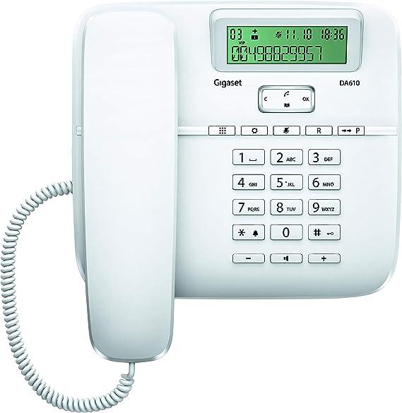 Gigaset DA610 - Teléfono Fijo de Sobremesa con Manos Libres e Identificación de Llamada, Plástico, 61 x 178 x 196 mm, Color Blanco: Gigaset: Amazon.es: Electrónica