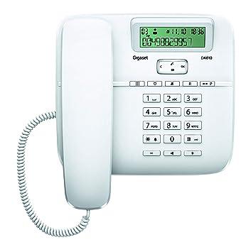 Gigaset DA610 - Teléfono fijo de sobremesa con manos libres y identificación de llamada, plastico, blanco, 61 x 178 x 196 mm