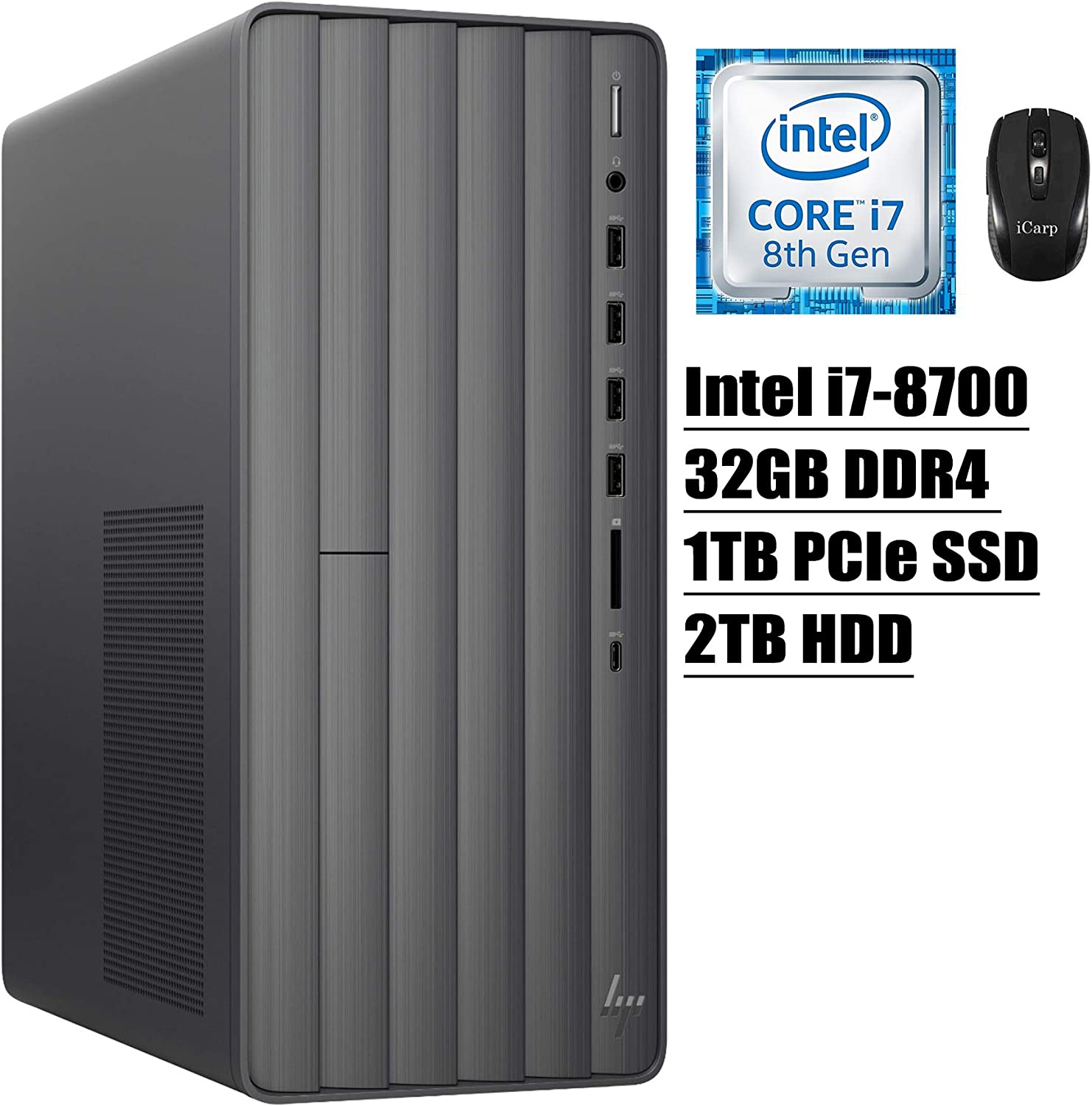 2020 Latest HP Envy Desktop High Performance Entertainment Computer 8th Gen Intel Hexa-Core i7-8700 up to 4.6GHz 32GB DDR4 1TB PCIe SSD 2TB HDD WiFi Type-C DVD-RW Win 10 + iCarp Wireless Mouse