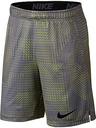 56dfea5dc400 NIKE Mens Dry Dri-Fit Printed Training Shorts w Pockets Grey Volt at ...