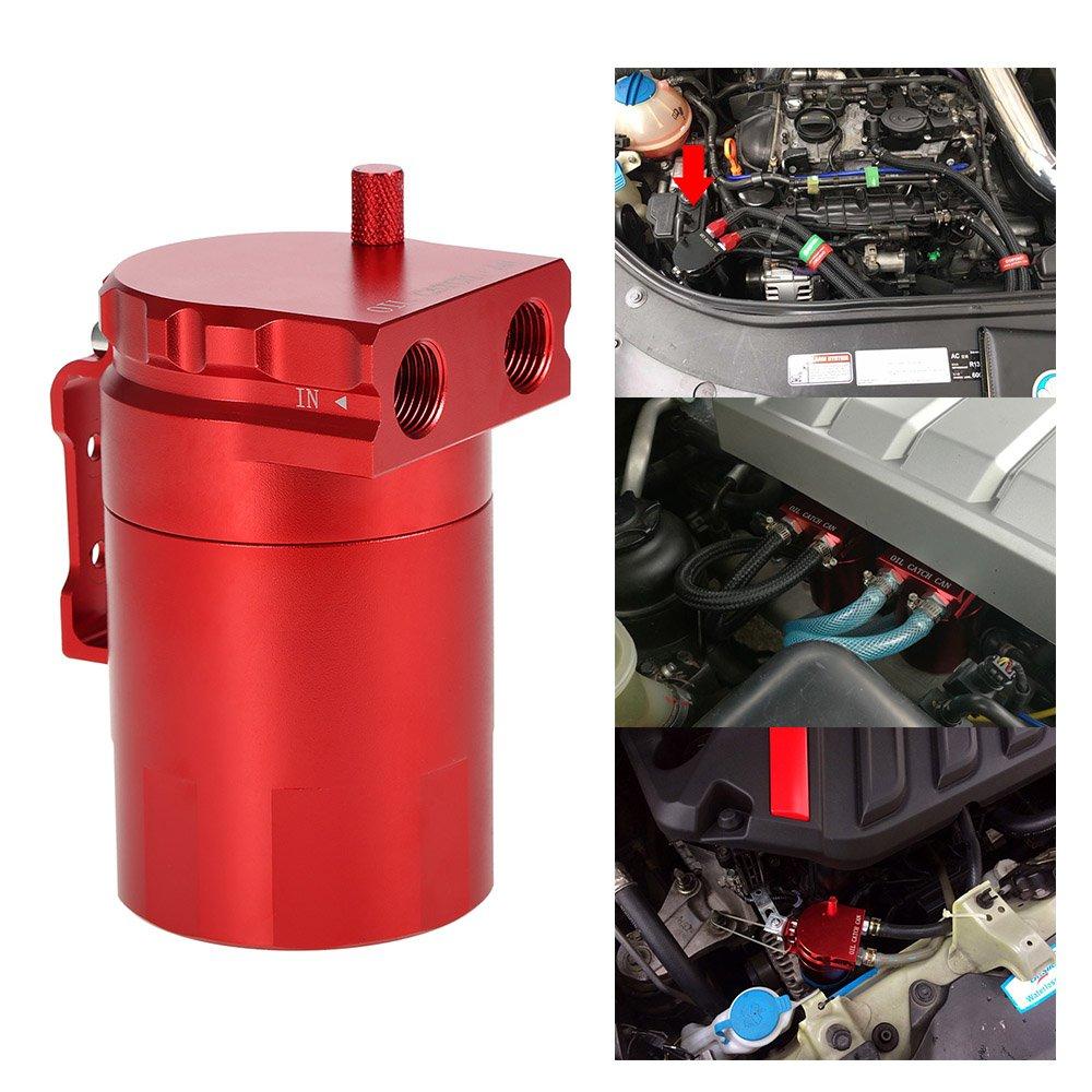 KKmoon Motor Aceite Catch Tanque de Respirable Compatible con Aleació n de Aluminio Universal + Manguera Kit