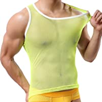 Youngshion Men's Sport Sleeveless Vest See-through Sex Body Fit Mesh Slimmer Tank Top Undershirt Blouse