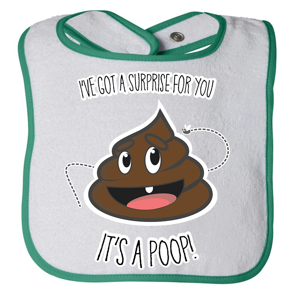 Personalised Baby Bibs Unisex Newborn Toddler Baby - I've Got A Suprise For You, It's A Poop! - 100% Cotton Bibs (Kelly)