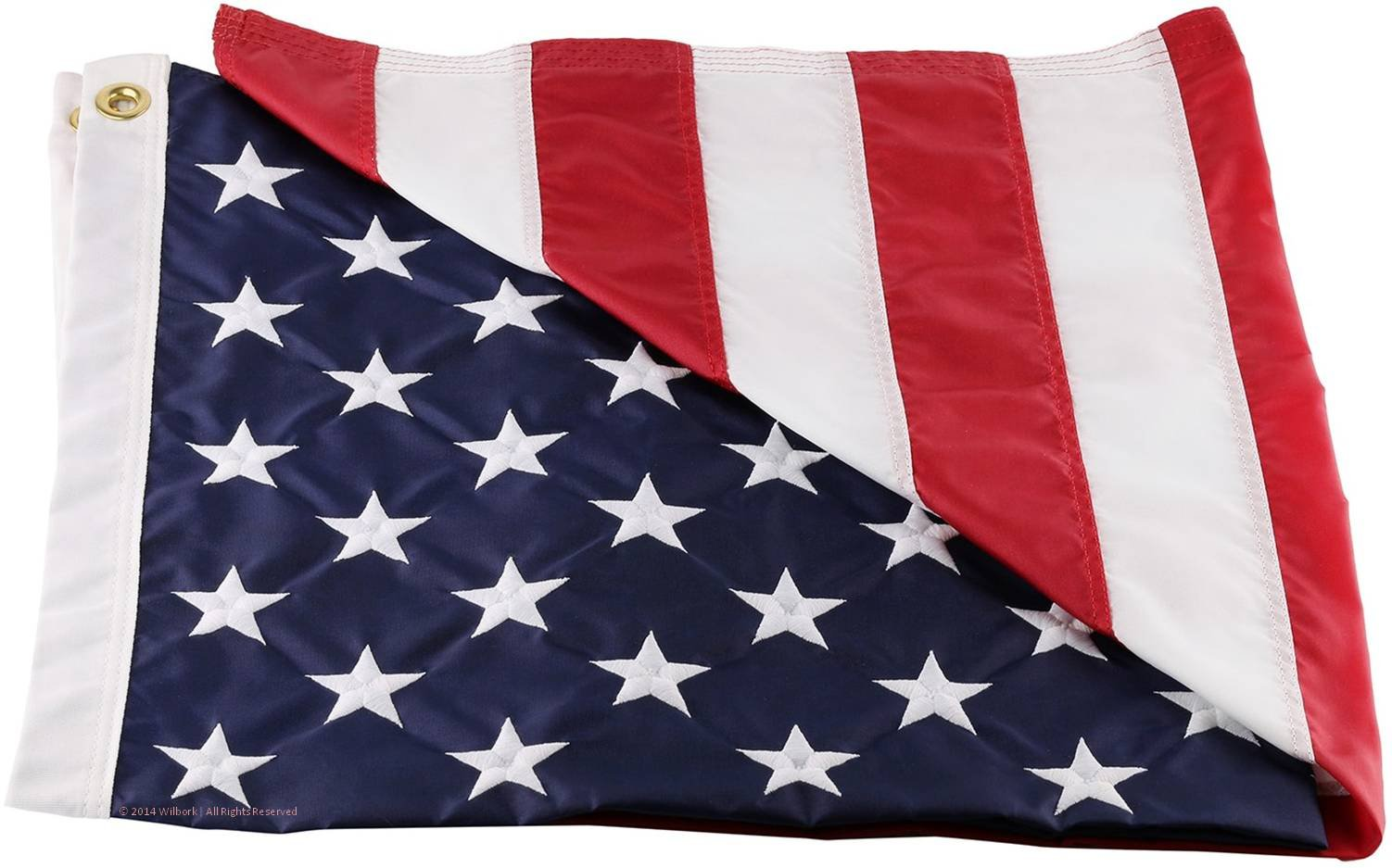 Wilbork American Flag - 100% Made in USA - Strong Like Americans Made by Americans: Embroidered Stars - Sewn Stripes 6x10 ft Outdoor Flag by Wilbork (Image #1)