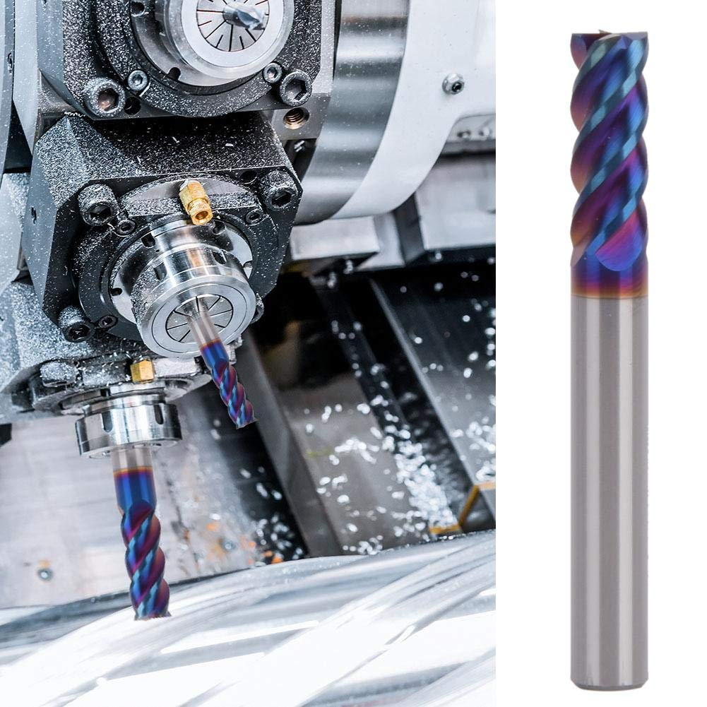 High Hardness Wear-Resistant and Durable Tungsten Steel 45/° 4-Flute Blue Nano-Coating End Mill for CNC Machine Tools D6504T Machining Centers Milling Cutter