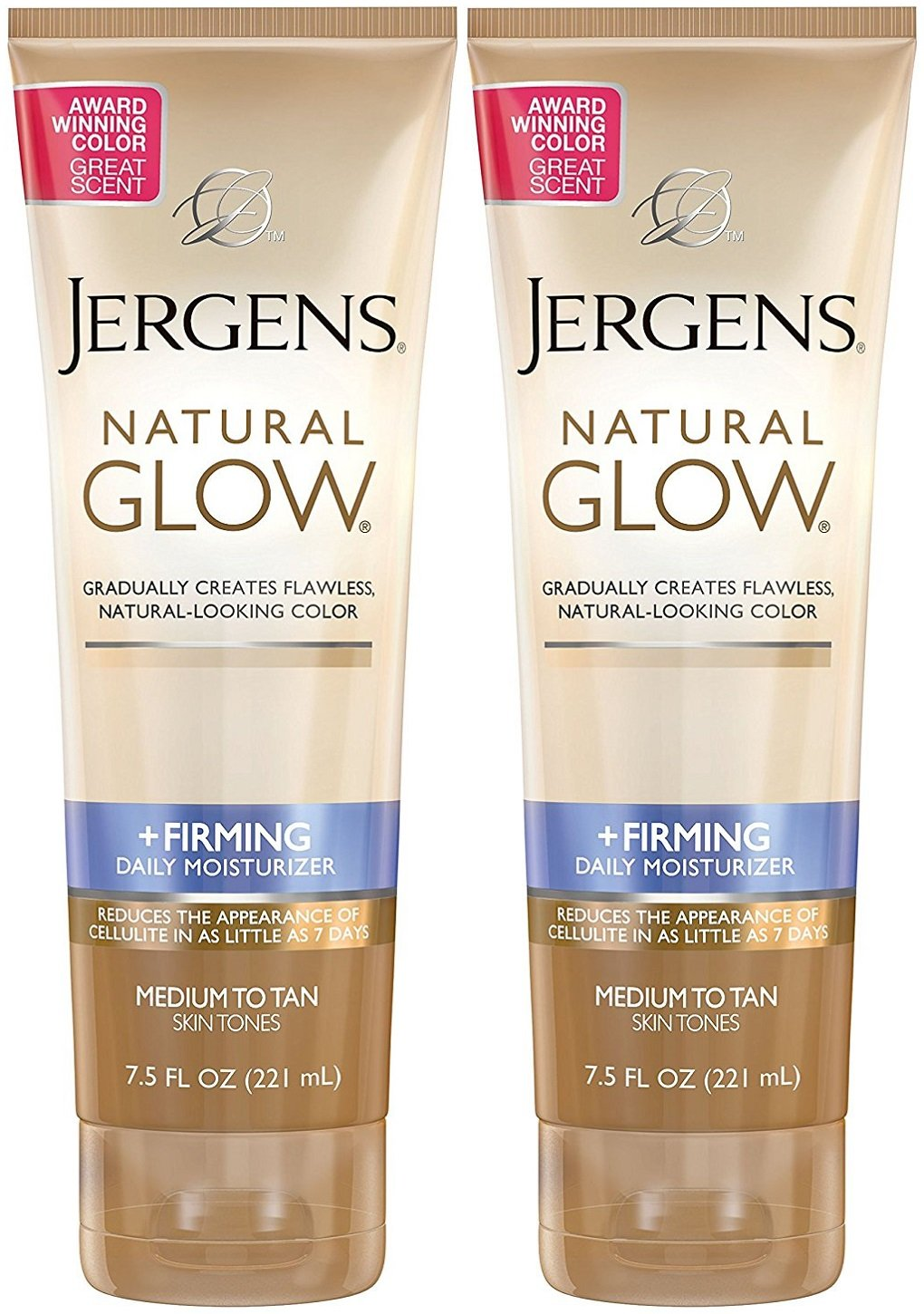 Jergens Natural Glow +Firming Daily Moisturizer, Medium to Tan Skin Tones, 7.5 Ounce (2 Pack) by Jergens