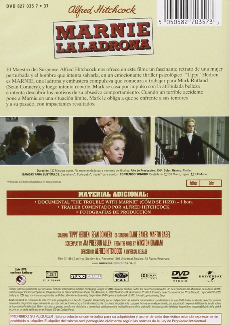Amazon.com: Marnie La Ladrona (Import Movie) (European Format - Zone 2) (2009) Tippi Hedren; Sean Connery; Diane Baker;: Movies & TV