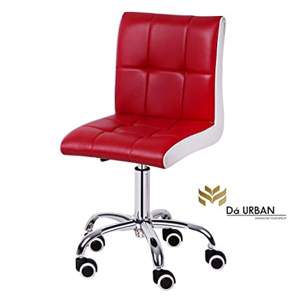 Da URBAN Height Adjustable RED & White Cadbury Cafeteria & BAR Wheels Stool/Chair (ISO and BIFMA Certified)