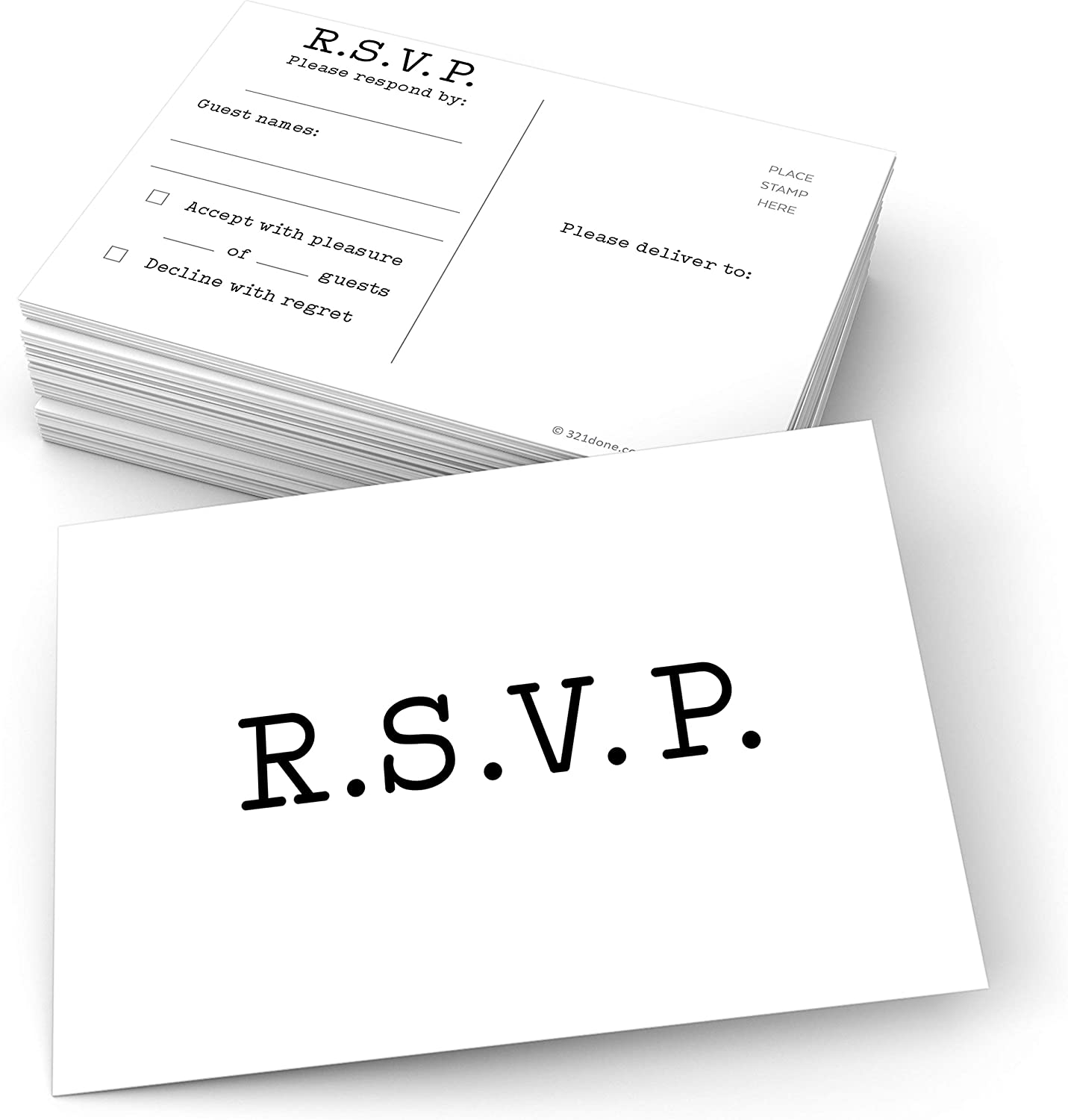 321Done RSVP Postcards (Set of 50) White Typewriter Vintage Large 4x6, USPS Post Office Addressing Response Cards for Wedding, Baby Shower, Party Guest Count - Made in USA – Minimalist Classic