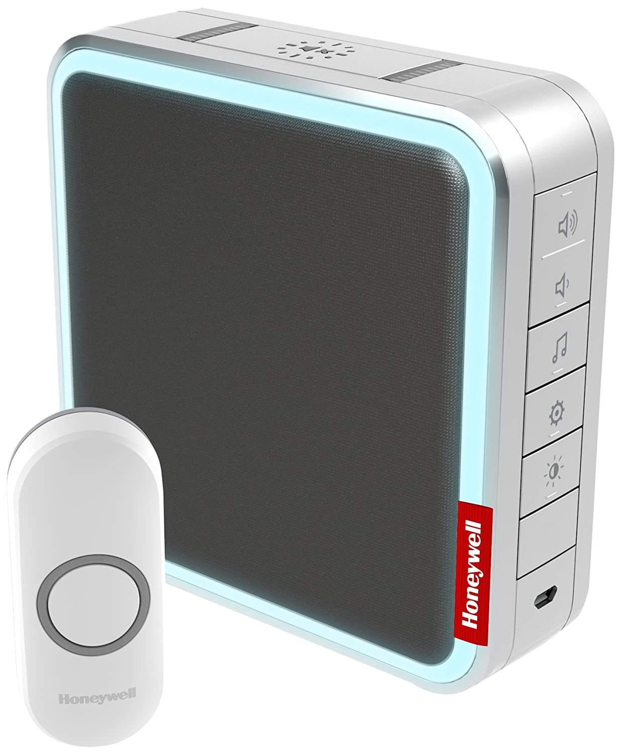 Honeywell DC917NG 9 Series Wireless 200 Meter MP3 Doorbell with Halo Light - Grey