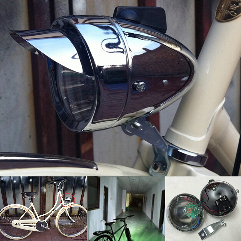 GOODKSSOP 180lm Vintage Retro Chrome Bicycle Bike LED Headlight Front Fog Head Light Lamp Silver