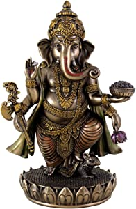 TLT 7.5 Inch Standing Ganesh Statue Figurine, Cold Cast Bronze Colored