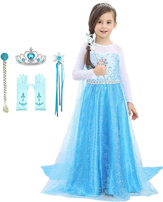 NOMILIAN Princess Dress,Girls Costume Birthday Party Dress Up Halloween Cosplay with Unique Design 2-10 Years
