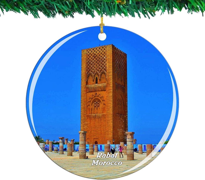 Bernice Winifred Marruecos Hassan Tower Rabat Adorno navideño City Travel Souvenir Collection Porcelana de Doble Cara 2.85 Pulgadas Decoración de árbol Colgante