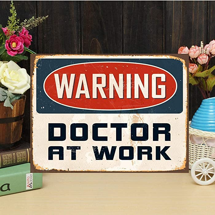 Lplpol Aluminum Sign, Doctor Sign Doctor at Work Sign Warning Sign Doctor Gift Dentist Gift Clinic Decor Office Sign Hospital Wall Sign Customized Wall Sign, Decoration Sign, 10x14 Inch