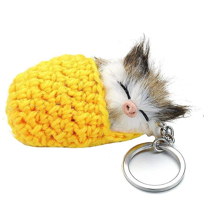 Unique Life Llavero con pompón de gato durmiendo con piel de ...