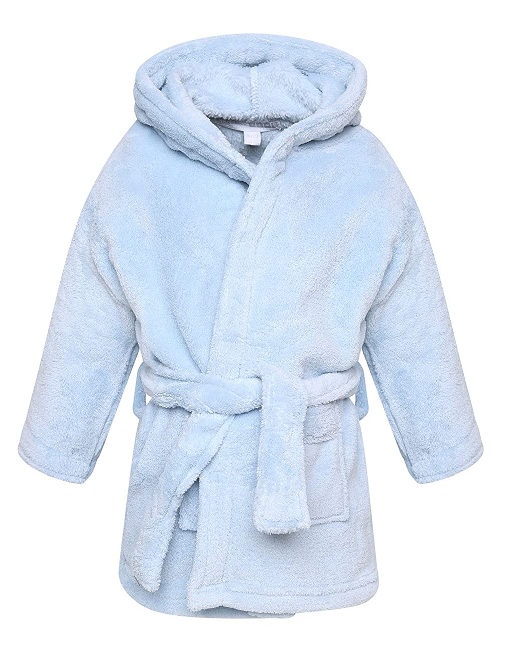 Baby Boys And Girls Unisex Fleece Hooded Dressing Gown Bath Robe Pink Blue White