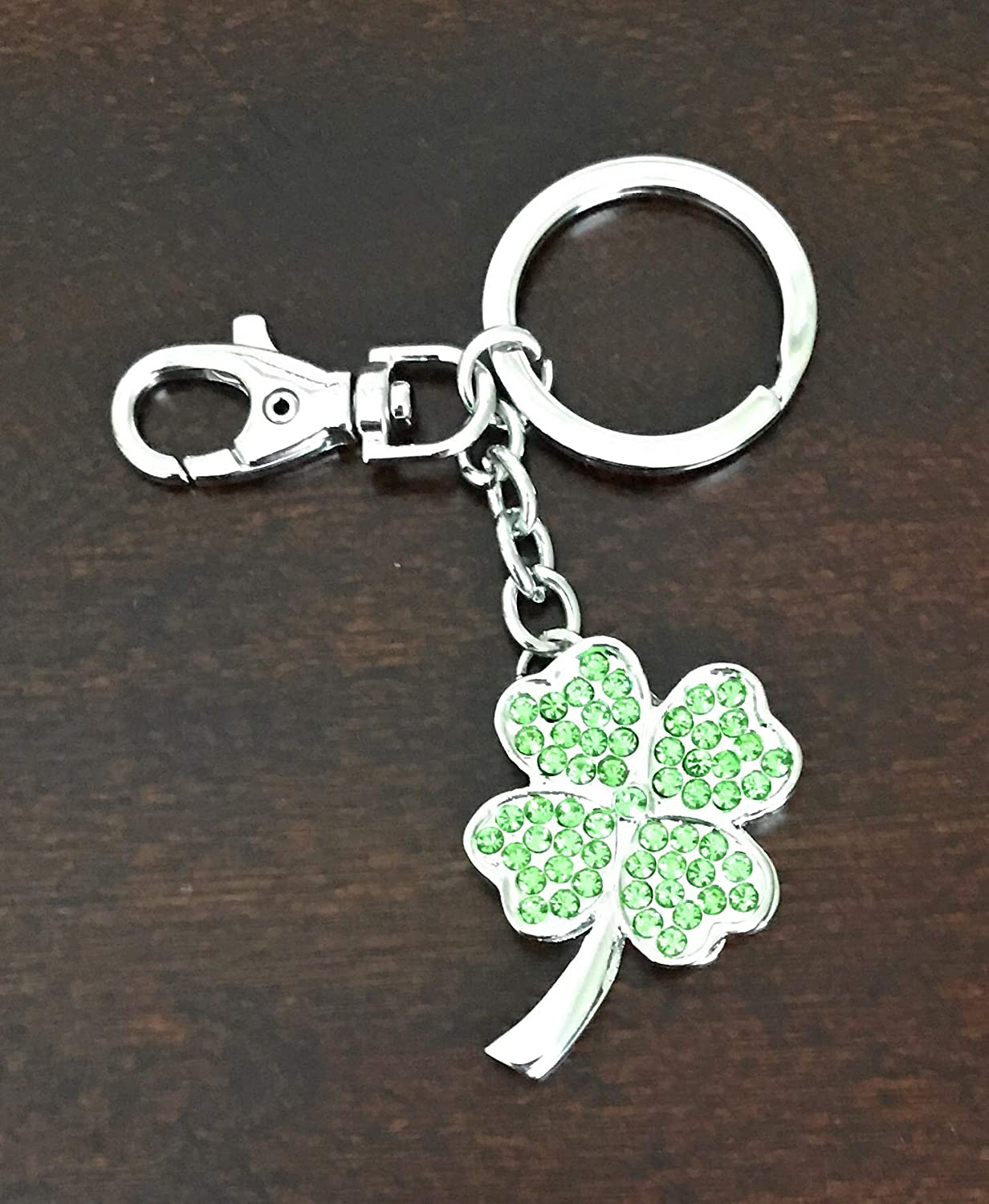 Kubla Crafts Bejeweled Lucky 4 Leaf Clover Shamrock Key Chain 4.25 Inches Long