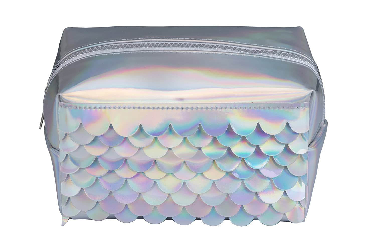 Tri-Coastal Design Mermaid Travel Accessory Makeup Cosmetic Bag: Holographic Summer Mermaid with Scales