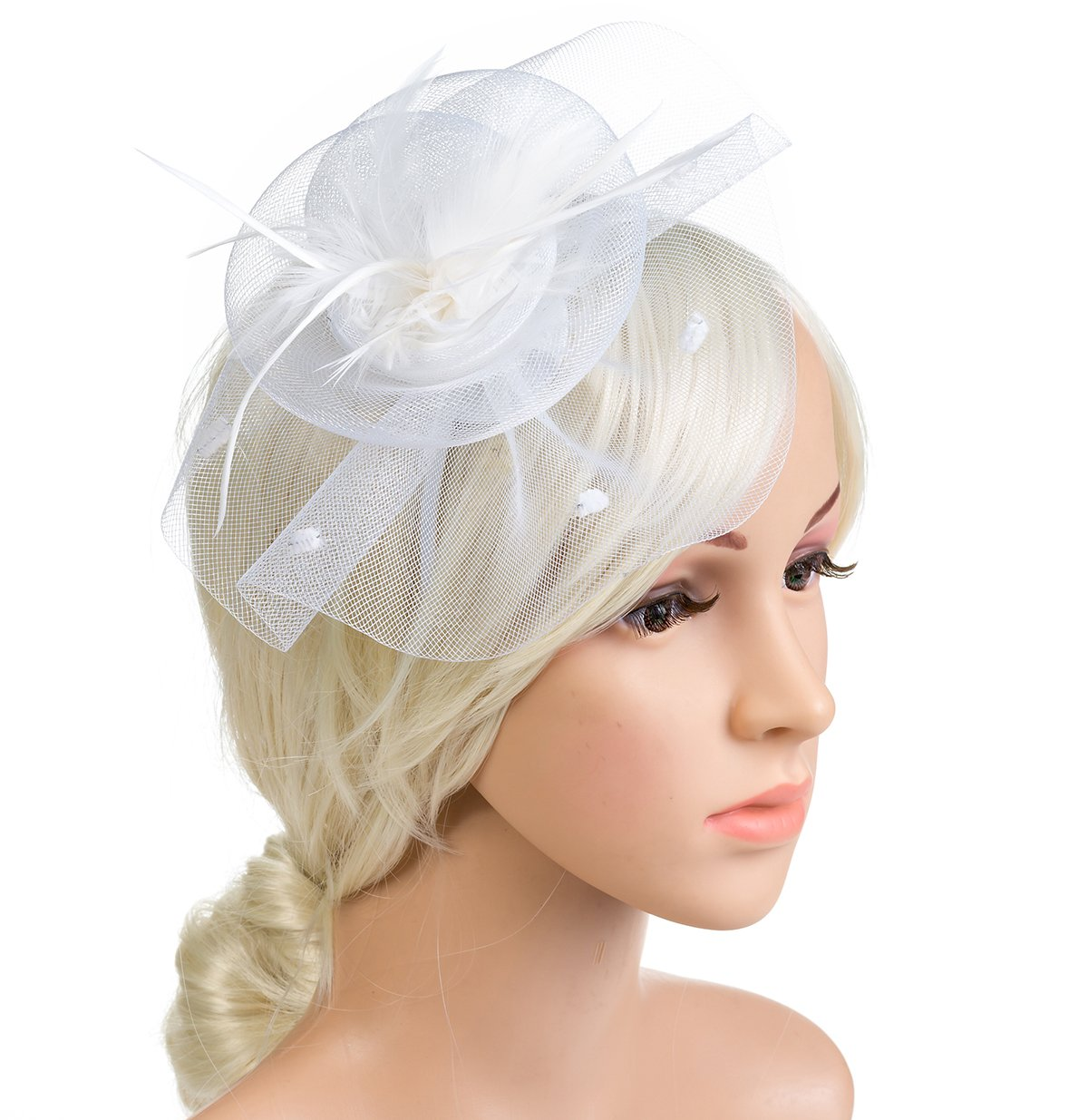 DancMolly 1920s Fascinator Derby Hats Feather Cocktail Tea Net Hair Headband Mesh Party Clip for Ladies Womens (Style 3-White)
