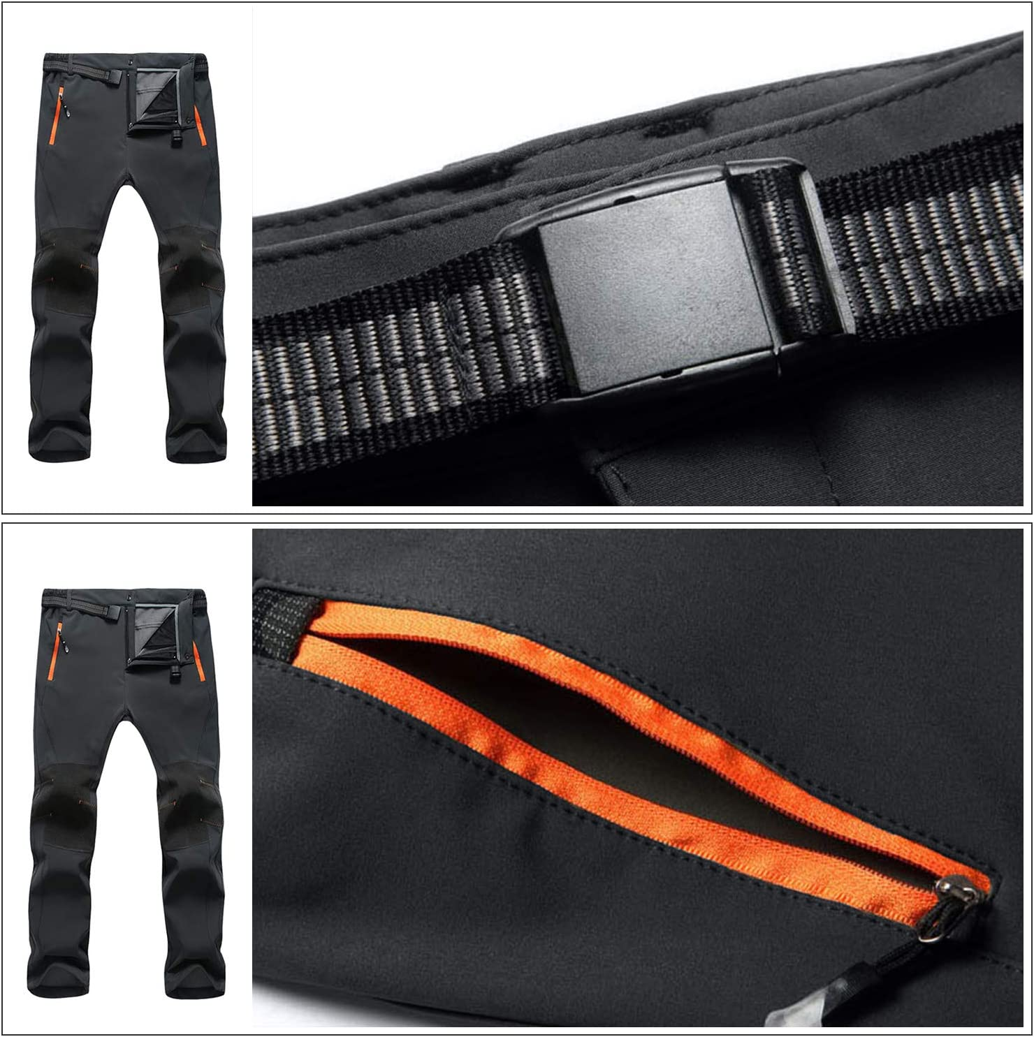 SUKUTU Outdoor-Wanderhose f/ür Herren Atmungsaktive leichte Hose mit Mehreren Taschen zum Berglaufen mit G/ürtel