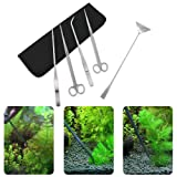 Xcellent Global Kit per acquario con strumenti in acciaio inossidabile per sistemare le piante, con pinze, forbici e spatola - 5 accessori PC035