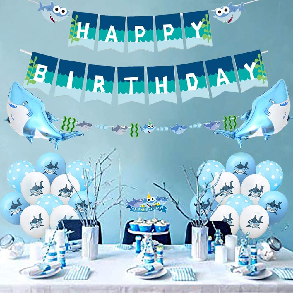 Shark Birthday Party Decorations for Boys, Shark Happy Birthday Banners Under the Sea Ocean Theme Cake Toppers Color Shark Balloons Garland for kids 1st 2nd 3rd Party Supplies