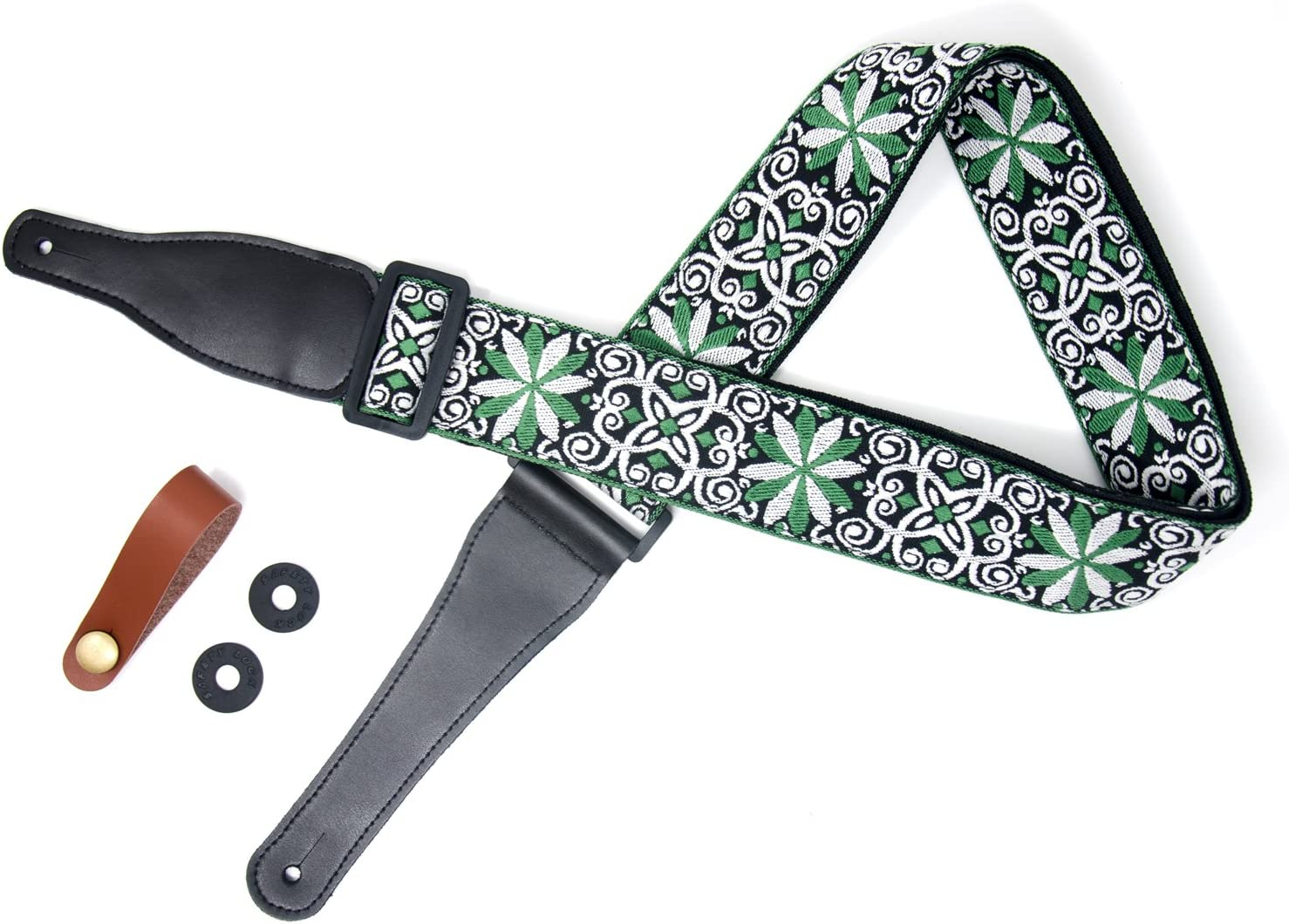 COOME Correa para guitarra Suave de algodón de flores jacquard armadura trenzado correa de guitarra ajustable con acabados de cuero para las guitarras acústicas bajo eléctrico (Verde)