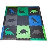 SoftTiles Dinosaur Large Premium Interlocking Jurassic Kids Foam Play Mat with Sloped Borders- Black, Blue, Green, Lime, and Gray- 6.5' x 6.5' mat- covers over 36 sqft. BGLG