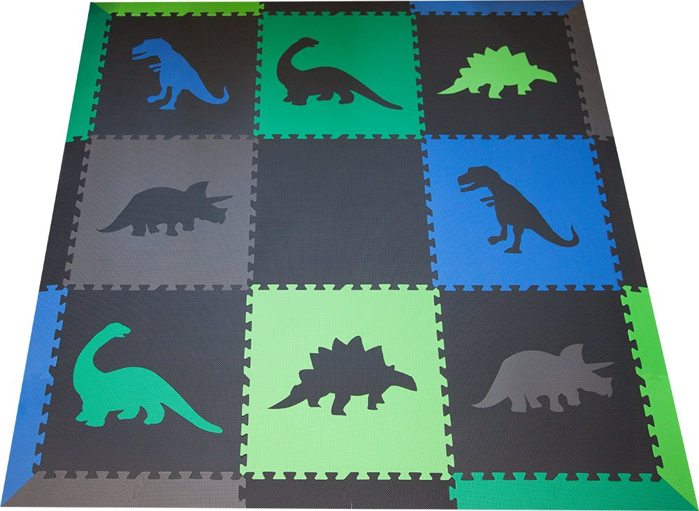 SoftTiles Children's Foam Playmat - Jurassic Dinosaur Theme - Non-Toxic Interlocking Floor Tiles for Toddler Playrooms/Baby Nursery - Black, Blue, Green, Lime, and Gray (6.5' x 6.5') SCDBGLG