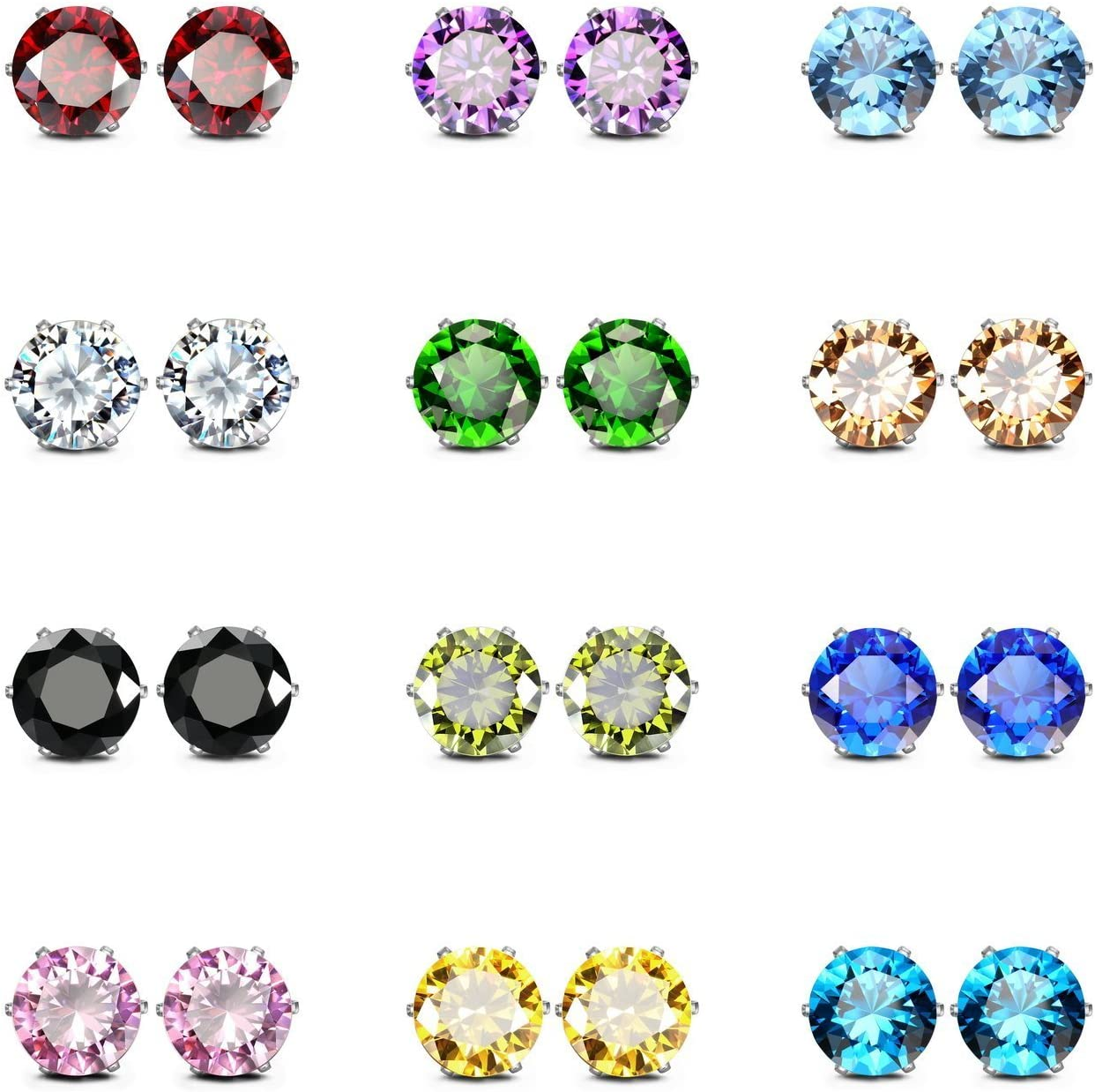 Mix and Match Everyday Stud Earring Pack Gemstone Studs 2 Pair Set on Surgical Steel Posts Hypoallergenic for Sensitive Skin
