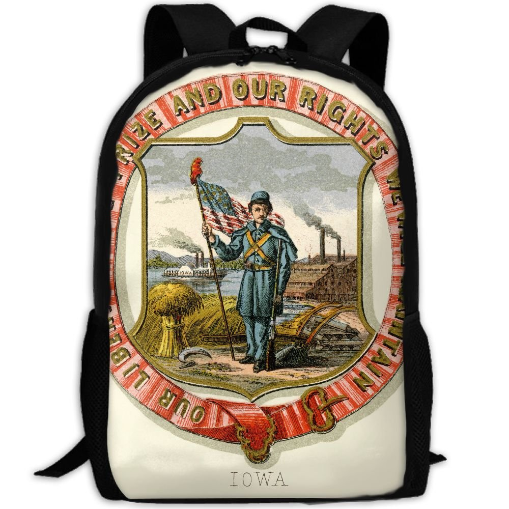 ZQBAAD Iowa State Coat Of Arms Luxury Print Men And Women's Travel Knapsack