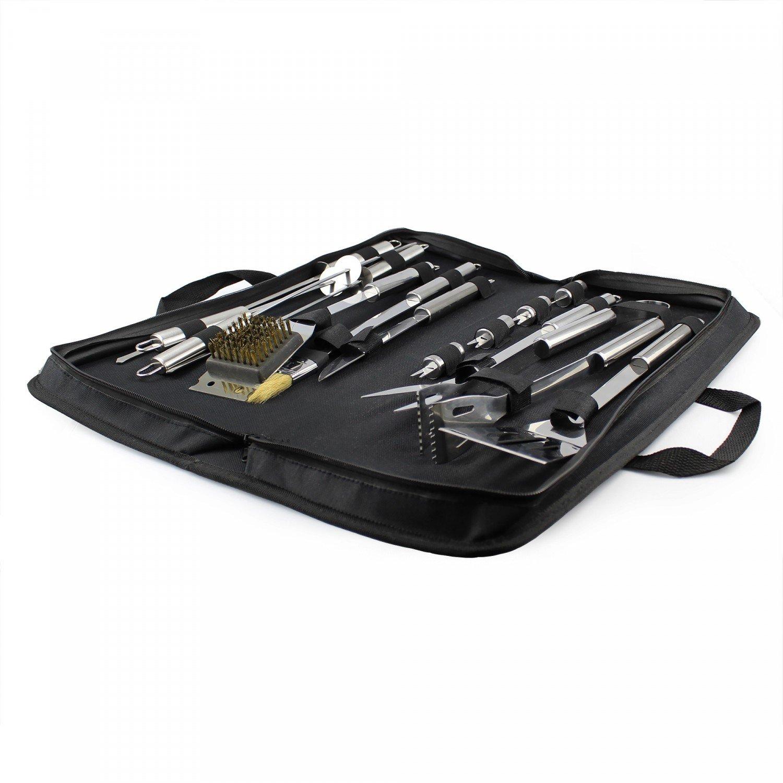 Mat/ériau: Alliage en Aluminium Leogreen 3 ustensiles en Acier Inoxydable Mallette en Aluminium Lot dUstensiles pour Barbecue Ustensiles pour BBQ