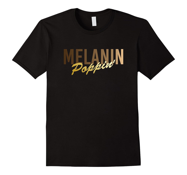 Gold Graphic Saying Melanin Poppin T-Shirt-FL