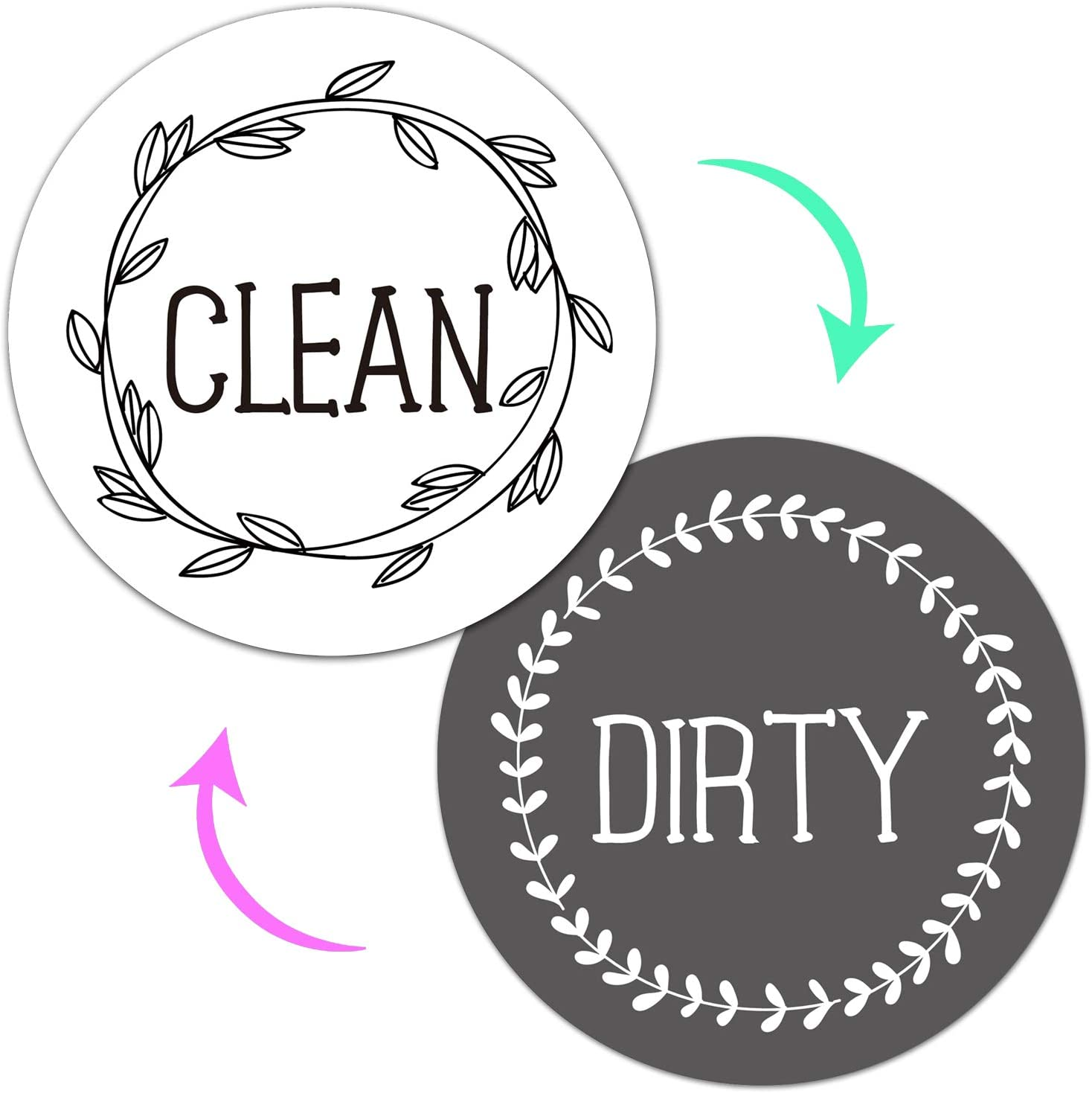 Universal Strong Magnetic Dishwasher Clean Dirty Sign, Double Sided Flip kitchen Dishwasher Indicator, Large Size 3.6 Inches for Tells Whether Dishes Are Clean or Dirty.