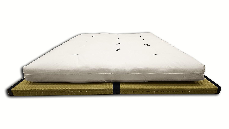 Kombination 2 tatamis (80x200x5,5cm) Futon Baumwolle 2 Lagen latex ...
