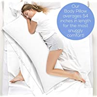 Ultra Soft Body Pillow - Long Side Sleeper Pillows for Use During Pregnancy - 100% Cotton Soft White Stripes Cover with Soft Polyester Filling (Single Pack)