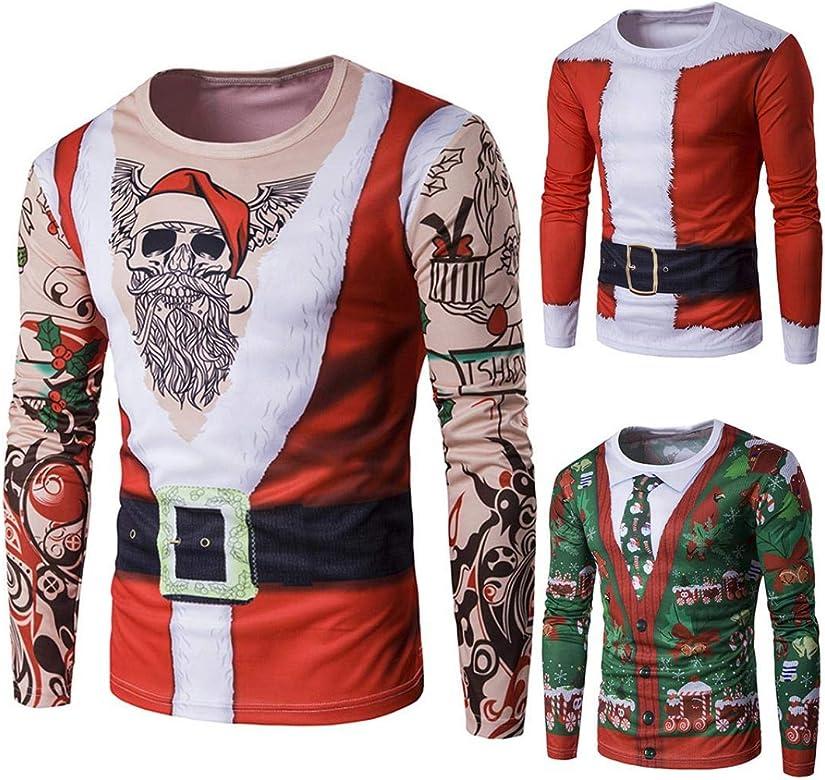 Camiseta de manga larga para hombre, diseño de árbol de Navidad con Papá Noel: Amazon.es: Joyería