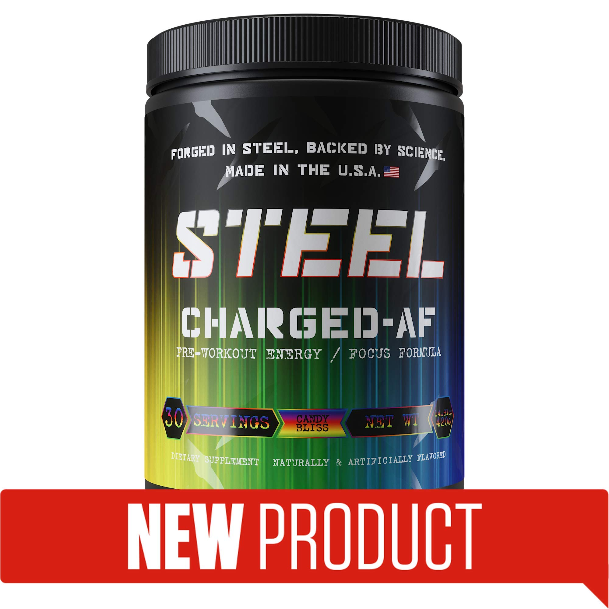 Steel Supplements Charged-AF Pre Workout Powder Energy Drink with Vitamins B6 and B12 High Intensity 30 Servings (Candy Bliss)