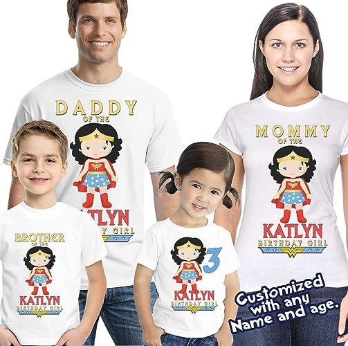 7850e1f5 Amazon.com: Wonder Woman Birthday Shirt- Girl Hero Birthday Shirt - Birthday  Shirt- Wonder Woman Shirt: Handmade