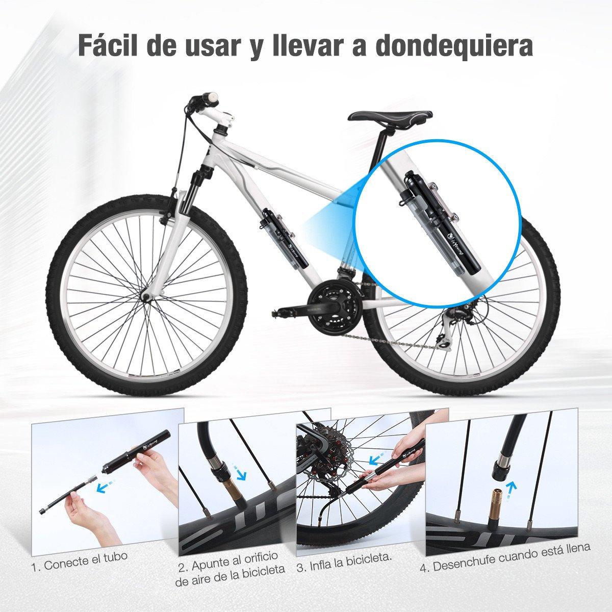 isYoung Mini Bomba De Bicicleta de Mano Bomba de Aire para Neumático Portátil - Se Adapta a Presta y Schrader (Válvula Reversible) con Una Presión MAX de 260 PSI (Negro)