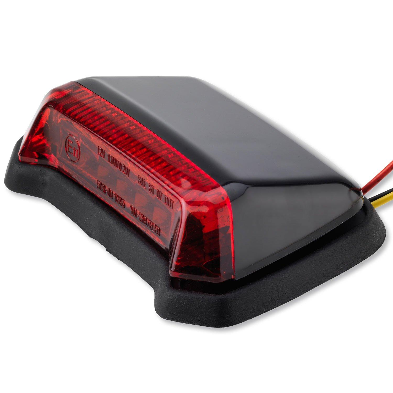 LED Universal R/ücklicht Fender Motorrad Custom Harley Geh/äuse Schwarz Rotes Glas
