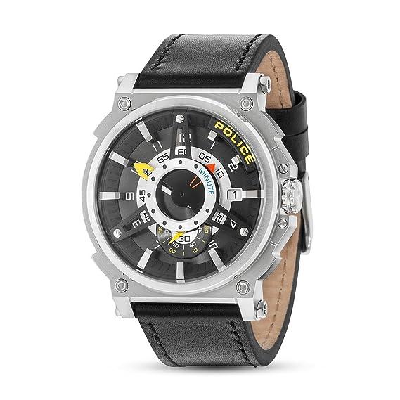 Police Reloj Analógico para Hombre de Cuarzo con Correa en Cuero PL15048JS.61: Amazon.es: Relojes